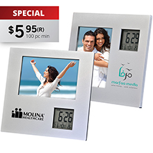 FR96<Br><br>PHOTO FRAME WITH TWO WAY CLOCK