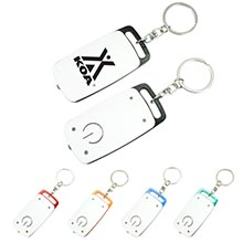 LL206<Br><br>TWO-TONE RECTANGULAR LED FLASHLIGHT WITH SPLIT KEY RING