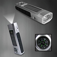 LL297 OVERSEAS<Br>FACTORY DIRECT<br>SOLAR POWERED FLASHLIGHT WITH COMPASS