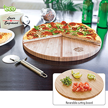 PZ913<Br><br>GOURMET BAMBOO PIZZA SET/CUTTING BOARD